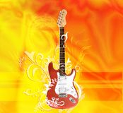 Hot electric guitar Royalty Free Stock Images