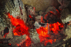 Hot embers of a fire stock images