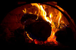 Hot embers in oven Stock Photography