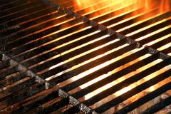 Hot Empty Flaming BBQ Grill Background Stock Photo