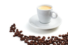 Hot espresso. Espresso in a white cup surrounded by coffee beans Stock Photo