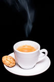 Hot espresso coffee with amarettini pastry Royalty Free Stock Photography