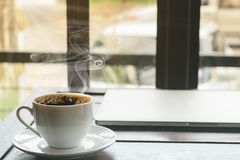 Hot espresso coffee in the morning, cafe shop Royalty Free Stock Photo