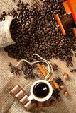 Hot espresso in flavored coffee beans and cinnamon Stock Photos