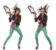Hot excited rock and roll woman breaking guitar. Hot excited rock and roll woman holding her electric guitar and getting ready to break it. collage of two images royalty free stock image