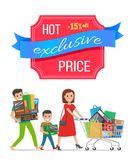 Hot Exclusive Price -15 Off Low Cost Special Offer. Discount poster people shopping. Parents and boy vector family carrying trolley full of packages vector illustration