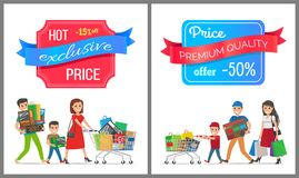 Hot Exclusive Price -15 Off Low Cost Special Offer. Hot exclusive price premium quality sale half cost discount poster people shopping. Parents and boy family Royalty Free Stock Photography