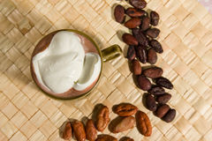 Hot fairtrade cocoa. With background Royalty Free Stock Images