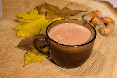Hot fairtrade cocoa. With background Royalty Free Stock Photos