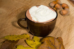 Hot fairtrade cocoa. With background Stock Image