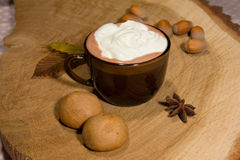 Hot fairtrade cocoa. With background Stock Images