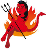 Hot female devil character Royalty Free Stock Images