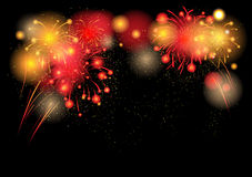 Hot festive fireworks. With place for text Royalty Free Stock Photo