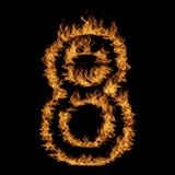 Hot fiery burning flame font. Conceptual hot fiery burning flame font made of blazing or raging orange yellow fire isolated on black background. 3D illustration Stock Photography