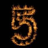 Hot fiery burning flame font. Conceptual hot fiery burning flame font made of blazing or raging orange yellow fire isolated on black background. 3D illustration Royalty Free Stock Photos