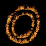 Hot fiery burning flame font. Conceptual hot fiery burning flame font made of blazing or raging orange yellow fire isolated on black background. 3D illustration Royalty Free Stock Photography