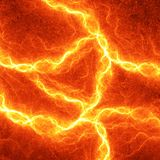 Hot fiery lightning. Burning electrical background Royalty Free Stock Photography