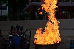 Hot fire. Burning fierce in the pan Stock Photo