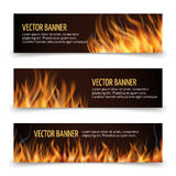 Hot fire advertisement vector horizontal banners set. Banner with flame and fire, advertising banner fiery heat illustration Stock Image