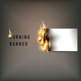 Hot fire banner with orange flames for your design Royalty Free Stock Photography