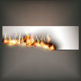 Hot fire banner with orange flames for your design Stock Photo