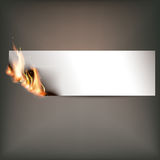 Hot fire banner with orange flames for your design Stock Photos