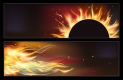 Hot fire banners set with orange flames for your design. Vector illustration Stock Photography
