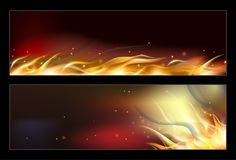 Hot fire banners set with orange flames for your design. Vector illustration Stock Photos