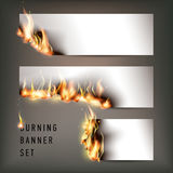 Hot fire banners set with orange flames for your design. Vector illustration Royalty Free Stock Photography
