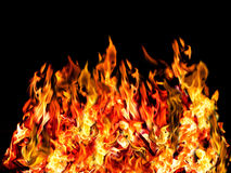 Hot fire on black Stock Photography