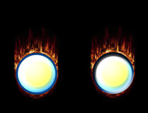 Hot Fire Buttons, pressed and unpressed. Two burning buttons with high-resolution flames Stock Image