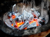 Hot fire of charcoal burning Royalty Free Stock Photos