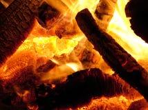 Hot Fire Coals. Hot coals at the base of a bonfire Stock Photos