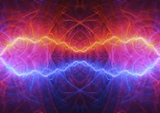 Hot fire and cold ice lightning. Abstract electrical background Royalty Free Stock Photography