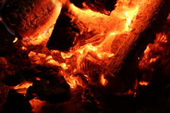 Hot fire embers Stock Photography