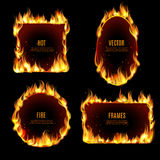Hot fire flame frame on the black background. Various hot fire flame frame set on the black background with center text isolated vector illustration Royalty Free Stock Photos