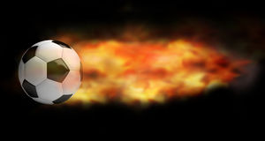 Hot fire flames football soccer ball 3d render Royalty Free Stock Images