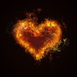 Hot fire heart burning Stock Image