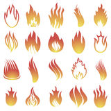 Hot Fire Icons. Isolated on White Background Stock Photo