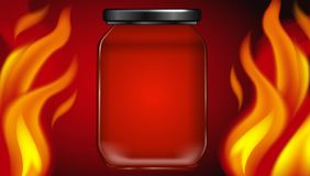 Hot Fire Jar on Red Background. Illustration Stock Photos