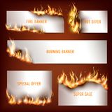 Hot fire strategic advertisement banners set for customers attraction to seasonal discount sales. Abstract  vector illustration Stock Image