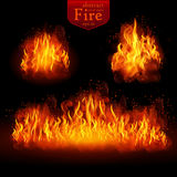 Hot fire. Vector realistic elements set for design Stock Photography