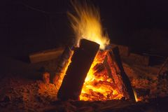 Hot fireplace full of wood and fire burning. Bonfire at the camp Royalty Free Stock Images