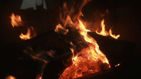 Hot fireplace full of wood and fire. stock video