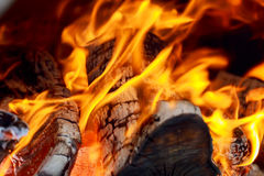 Hot fireplace full wood and fire with the sound Royalty Free Stock Photos