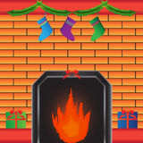 Hot fireplace with present Royalty Free Stock Photo