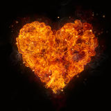 Hot fires flames in heart shape Royalty Free Stock Photo