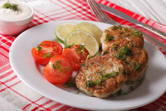 Hot fish cakes with lime and tomatoes on a plate and sauce. Royalty Free Stock Images