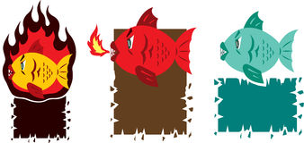 Hot fish cartoon. Illustration of a fish on fire on a plaque Royalty Free Stock Photo