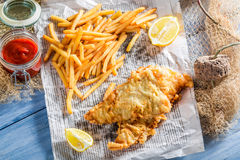 Hot fish cod with chips in newspaper Stock Photography